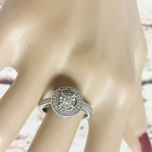 Jewelry - Sterling Silver Art Deco Style CZ Engagement Ring